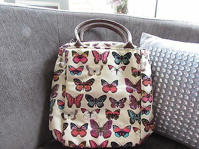 £3.99 • Buy Cream Butterfly Print Lunch Tote Bag With Brown Faux Leather Handles