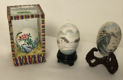 £9 • Buy Vintage Hand Blown Chinese Painted Eggs In Display Case Plus Others