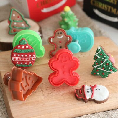 £1.20 • Buy 4Pcs Christmas Fondant Cake Cutter Plunger Cookie Decorating Baking Mould Tools