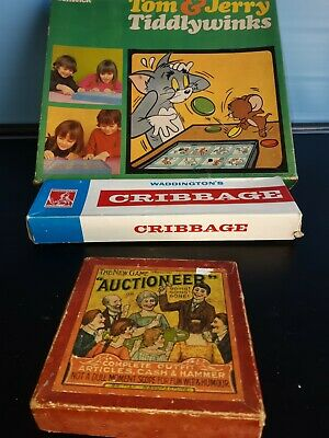 £7 • Buy Vintage Games Tom And Jerry Waddingtons Cribbage Auctioneer 1914