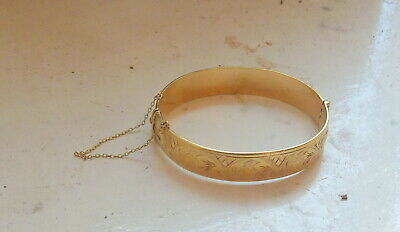 £29.99 • Buy Vintage Heavy 9ct Gold Metal Core Bangle With Safety Chain Not Scrap 32.5 Grams