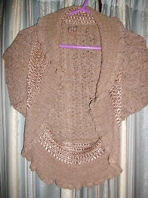 £1.95 • Buy Taupe Knitted Shrug Size 14-16 E-vie