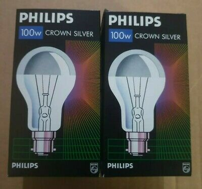 £12.50 • Buy 2 X  Philips Crown Silver Top Reflector Dimmable Light Bulbs 100W B22