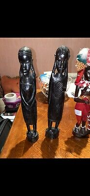 £12 • Buy African Hand Carved Wooden Figures Maasai Couple