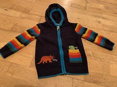 £3.50 • Buy Blue Zoo Cardigan 2-3 Years (dinosaurs, Multicoloured Stripes With Hood)