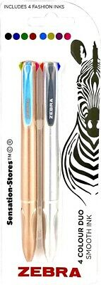 £3.49 • Buy ZEBRA Pen 4 Colour Duo Pack, Smooth Ink, Ballpoint Pen - 1 Rose Gold / 1 Silver.