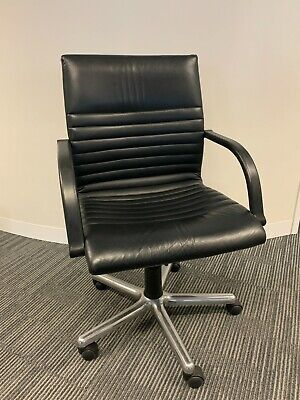AU465 • Buy Meeting/Office Chairs, 5 Star Base. Black Leather On Wheels