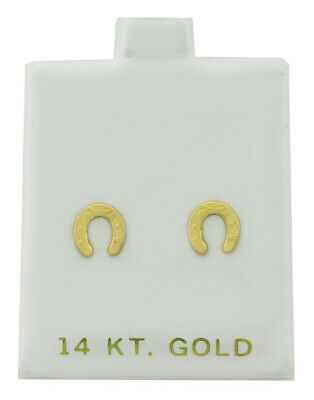 £1.65 • Buy HORSE SHOE STUD EARRINGS 14K Yellow Gold * NEW WITH TAG *