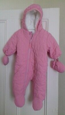 £6.99 • Buy Next Baby Girls Pink Fleece Lined Snowsuit / Pramsuit - Age 0-3 Months