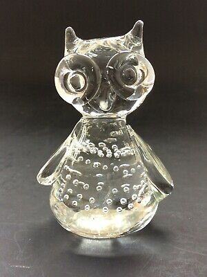 £4 • Buy Art Glass Hand Blown Bullicante Controlled Bubble Wise Owl Figurine Paperweight