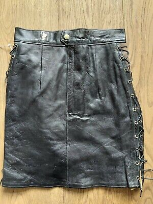 £0.99 • Buy Vintage 80s Leather Black Mini Skirt Lace Sides Size 6 To 8