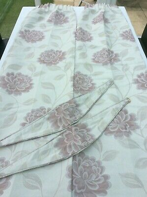 """£9.50 • Buy NEW MONTGOMERY FLORAL IVORY/PINK CURTAINS & TIE BACKS 60"""" Drop 48"""" Width £9.50"""