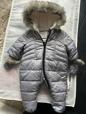 £9.99 • Buy Grey Pramsuit Snowsuit 0-3 Months Worn Once Mothercare