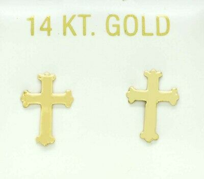 £0.73 • Buy CROSS EARRINGS 14K YELLOW GOLD *** New With Tag ***