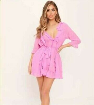£5.95 • Buy Pink Chiffon Sheer Dressing Gown Robe Negligee Babydoll Briefs 3Piece Set Size12