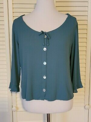 £11.21 • Buy Cut Loose Blue Rayon Button-Front Shirt Top Cropped Lagenlook Size Large