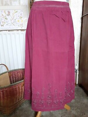 £4.99 • Buy New With Tags Penny Plain Size 14S Magenta Embroidered Needlecord Skirt