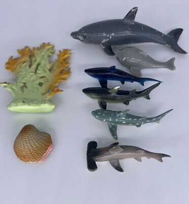 £3 • Buy Group Of Plastic Toy Animals - Sea Life - Sharks