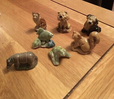 £5 • Buy Job Lot Of 7 Vintage Wade Whimsies, Sabre Tooth Tigre, Frog, Fish, Fox, Squirrel