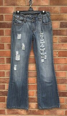 £9 • Buy Vintage, Y2k,duty Free Ripped,,bootcut.flared Hipster,jeans/trousers Sz 8-10
