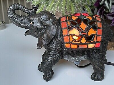 £36.61 • Buy Quoizel Tiffany Style Stained Glass Elephant Table Lamp Accent Night Light