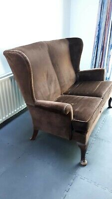 £100 • Buy Parker Knoll Wingback Chair 2 Seater Sofa Brown Fabric Model No PK 720/745/1013