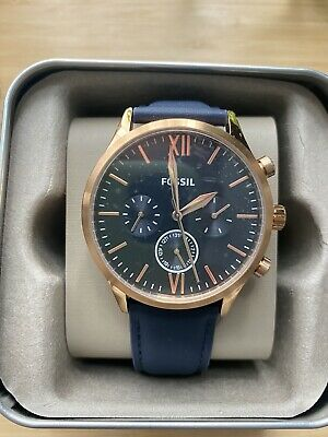 View Details Brand New Fossil Fenmore Midsize Multifunction Navy Leather Watch Rose Gold • 50£