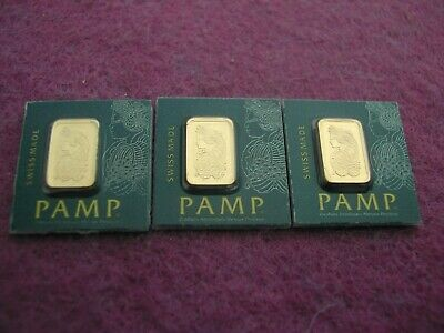 £189.99 • Buy 3 X 1g Suisse PAMP Gold Bar 999.9