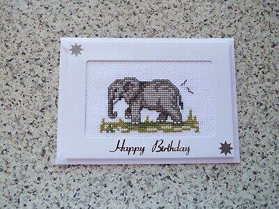 £2.50 • Buy Completed Cross Stitch Birthday Card, Elephant