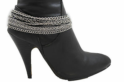 £14.61 • Buy Women Silver Metal Chains Boot Bracelet Anklet Shoe Charm Jewelry Strands Waves