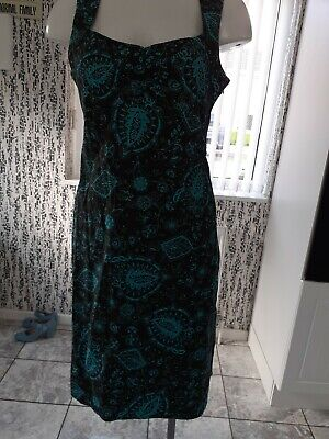 £10 • Buy  BRITISH HOME STORES  Ladies Black/turquoise Patterned Dress Size 14