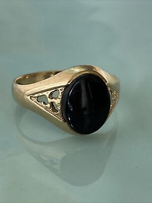 £89 • Buy 9ct Gold & Onyx Signet Pinky Ring, Size O, 2.5g, Lovely