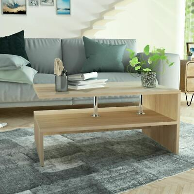 AU93.95 • Buy Stylish Coffee Side Table With Shelves Chipboard Unique Design Home Furniture