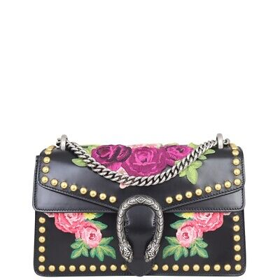 AU2200 • Buy Authentic Gucci Floral Embroidered Studded Dionysus Small Shoulder Bag