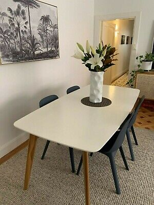 AU450 • Buy White Dining Table With Wooden Legs (Scandi Style) And 6 Ikea Chairs