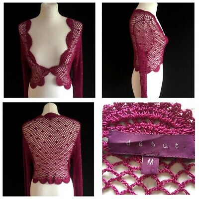 £9.95 • Buy BNWT Debut Lacey Shrug Size M 10 12 Dark Pink Evening Wear Party Wedding Holiday