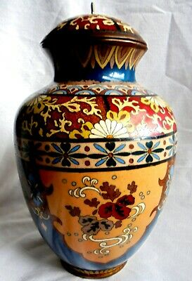 £95 • Buy Japanese Quality Victorian Cloisonne Vase & Lid .  7  5/8  Inches High.