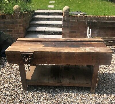 £165 • Buy Lovely Vintage Old Pine Wooden Work Shop Bench With A Vice