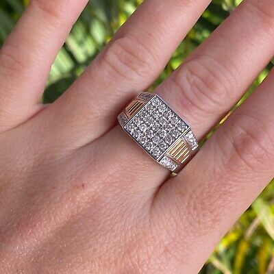 AU1499 • Buy 10ct White Gold 1ct Diamond Mens Ring By Michael Hill - RRP: $3000+ Size: U 1/2