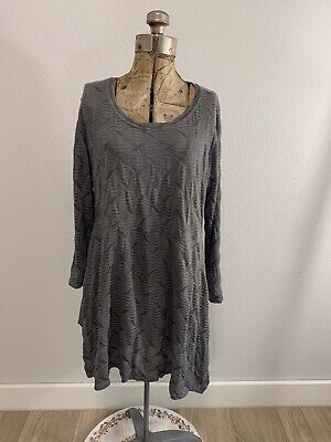 £11.58 • Buy Cut Loose Gray Raised Patterned 3/4 Sleeve Swing Tunic Size M