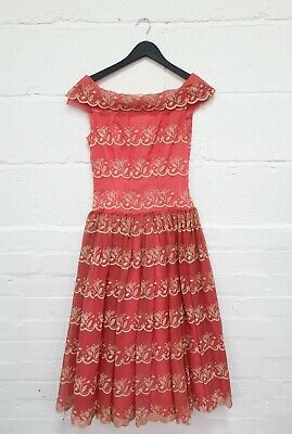 £25 • Buy Vintage 1950s/60s Ladies Party Dress Coral & Cream Stiff Petticoat In Size Small