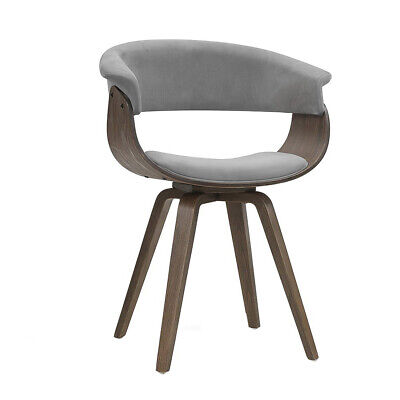 AU97.88 • Buy Artiss Dining Chairs Bentwood Chair Kitchen Velvet Fabric Timber Wood Retro Grey