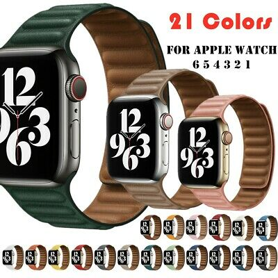 AU15.48 • Buy For Apple Watch Series 7 6 5 4 3 2 1 Magnetic Loop Leather Band Strap 38mm-44mm