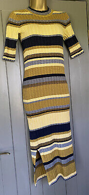 £2.80 • Buy H&M Yellow And Navy MIDI Knitted Dress Size Small 8-10