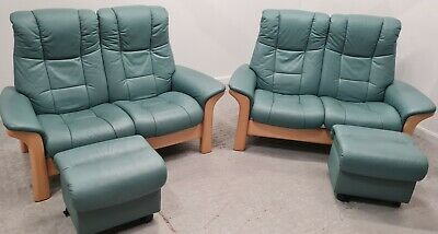 £1650 • Buy Ekornes Stressless 2x2 Seater Recliner Leather Sofas & Stool Pale Green 2309213