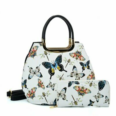 £24.99 • Buy Quirky - Women's White Butterfly Shell Tote Handbag Shoulder Bag & Purse Set New