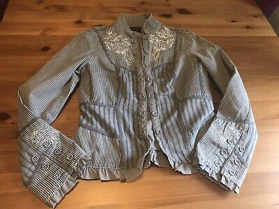 £12.50 • Buy Principles Size 10 Cotton Linen Grey Jacket Striped Embroidered
