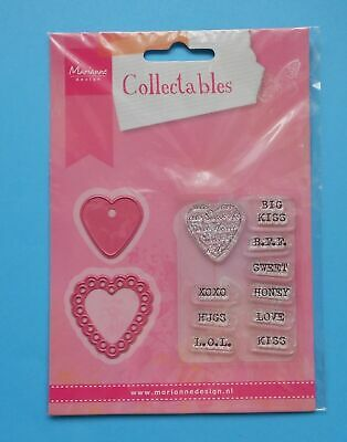 £3 • Buy HEARTS COL1307 With Matching STAMPS Metal Cutting Dies Marianne Design Collectab