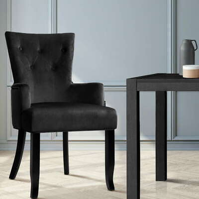 AU153.40 • Buy Artiss Dining Chairs French Provincial Chair Velvet Fabric Timber Retro Black
