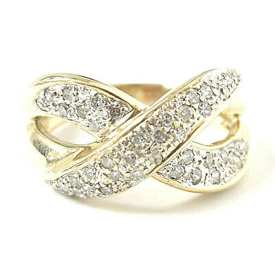 AU423.97 • Buy 9ct Gold Diamond Cross Ring Cluster Yellow 0.20ct Approx. 4.4g Size O Hallmarked